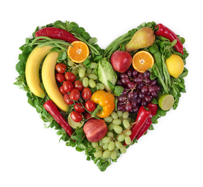 Cuore delle frutta e delle verdure fotografie stock