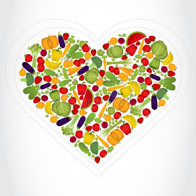 Cuore delle frutta e delle verdure illustrazione vettoriale