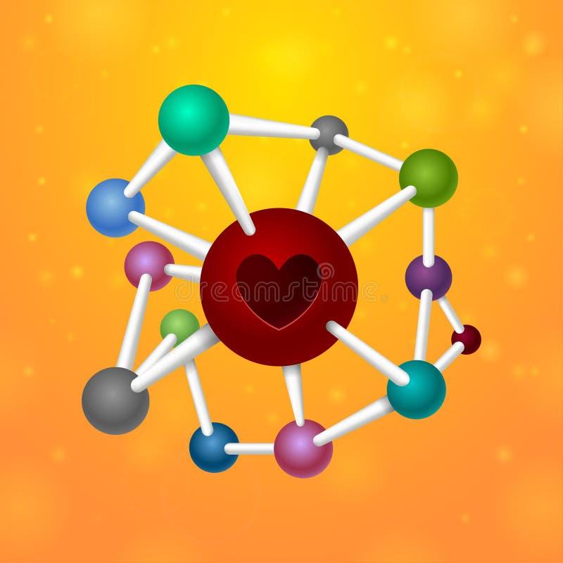 Cuore delle molecole royalty illustrazione gratis