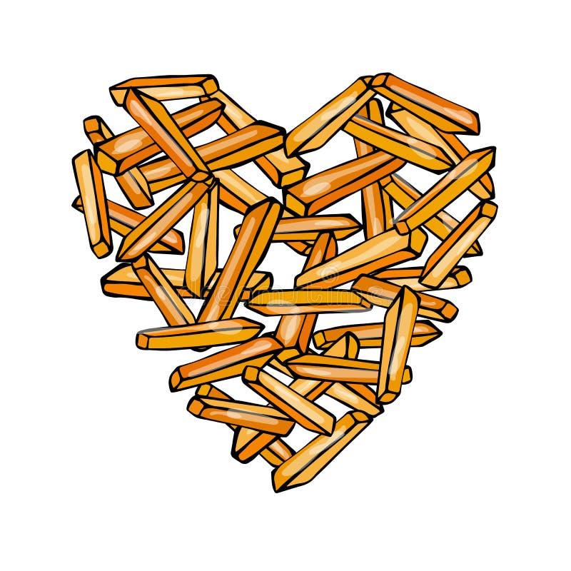 Cuore delle patate fritte della patata Amore Fried Potatoes Fast Food delizioso Manifesto dell'amante degli alimenti industriali  royalty illustrazione gratis