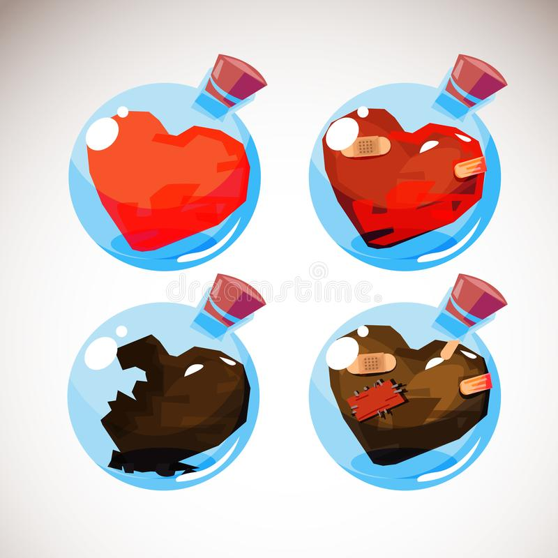 Cuore di amore in bottiglia della palla di vetro formi l'inizio alla conclusione del concetto di amore - illustrazione vettoriale