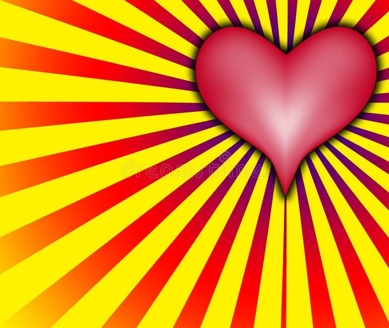 Cuore di amore con i raggi rossi e gialli