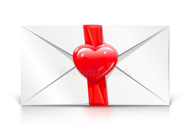 Cuore di amore della lettera di saluto del biglietto di S. Valentino illustrazione di stock