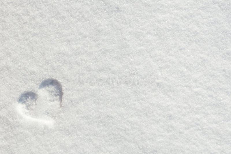 Cuore di amore di giorno del ` s del biglietto di S. Valentino su neve fotografie stock libere da diritti