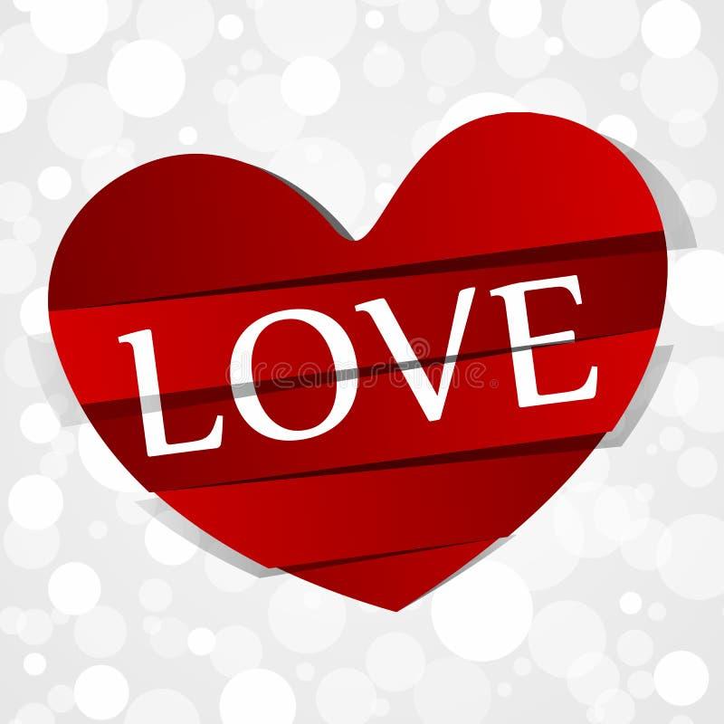 Cuore di carta rosso di amore illustrazione di stock