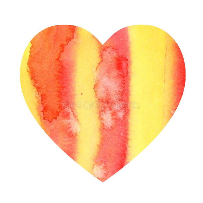 Cuore di colore d'acqua ottenuto da strisce di colore rosso arancione e macchie d'acqua spazio per il testo illustrazione di stock