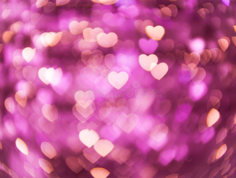 Cuore di forma di Bokeh, concetto di giorno di S. Valentino di amore immagine stock