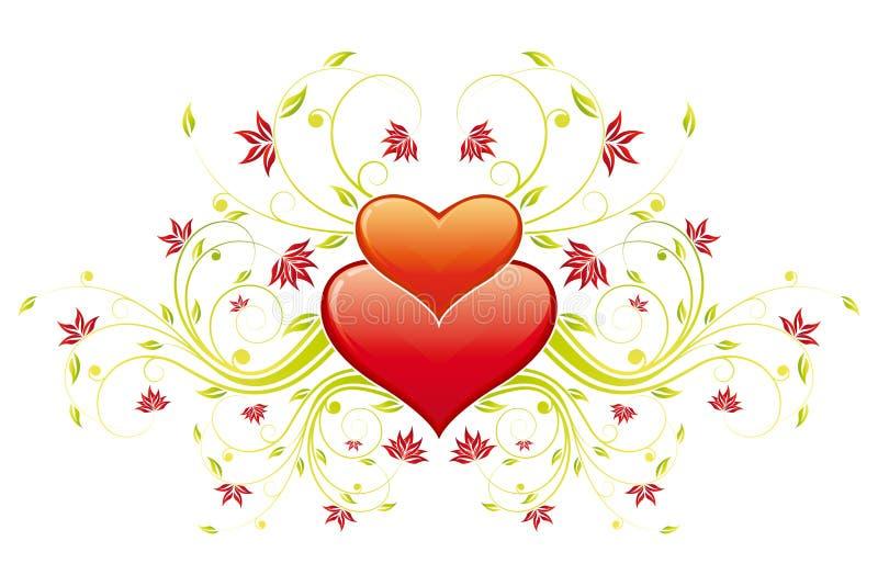 Download Cuore Di Giorno Del Biglietto Di S. Valentino Con I Fiori Illustrazione Vettoriale - Illustrazione di lucido, oggetto: 7323835