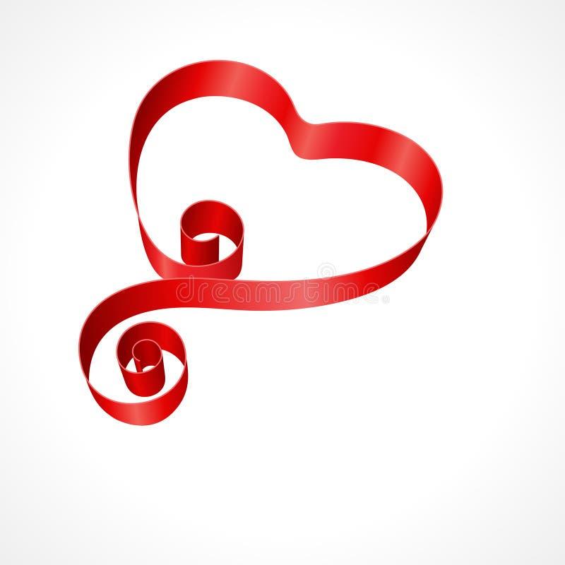 Cuore di giorno del biglietto di S. Valentino dal nastro di seta rosso illustrazione di stock