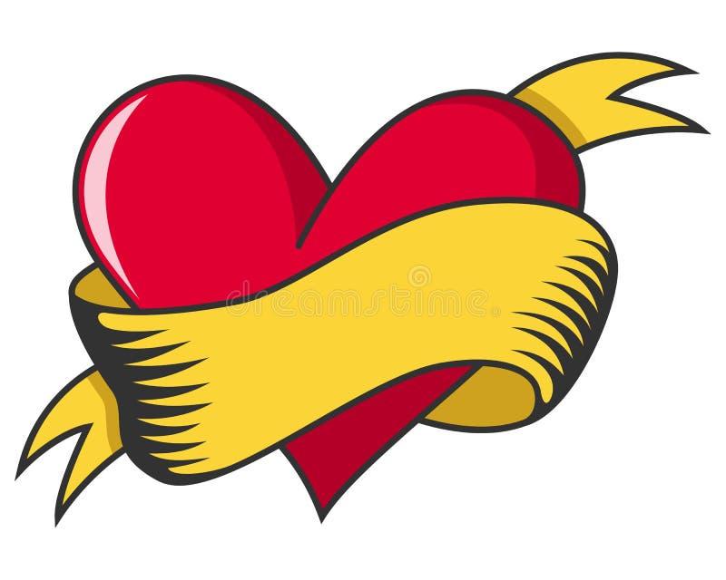 Cuore di giorno del biglietto di S. Valentino s retro con il nastro illustrazione di stock