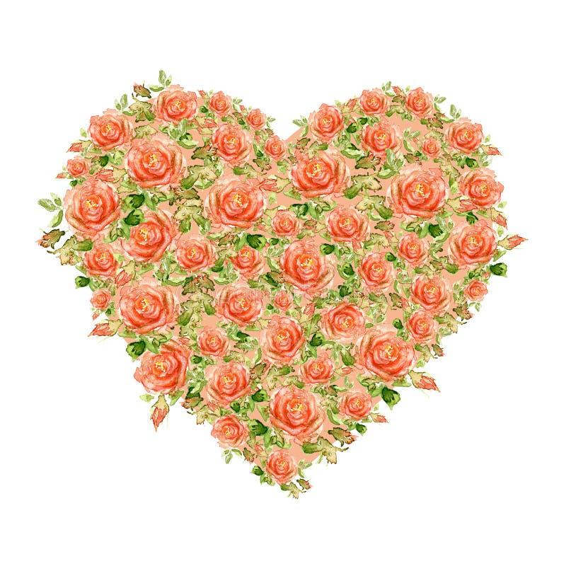 Cuore di giorno di biglietti di S. Valentino fatto delle rose dell'acquerello fotografia stock libera da diritti