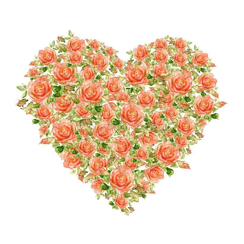 Cuore di giorno di biglietti di S. Valentino fatto delle rose dell'acquerello fotografie stock libere da diritti