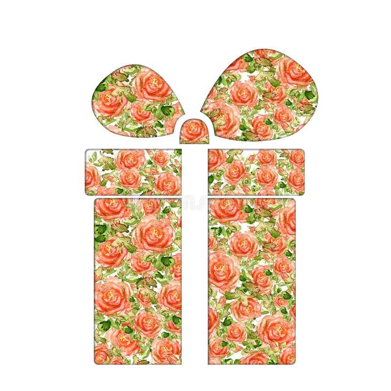 Cuore di giorno di biglietti di S. Valentino fatto delle rose dell'acquerello fotografia stock