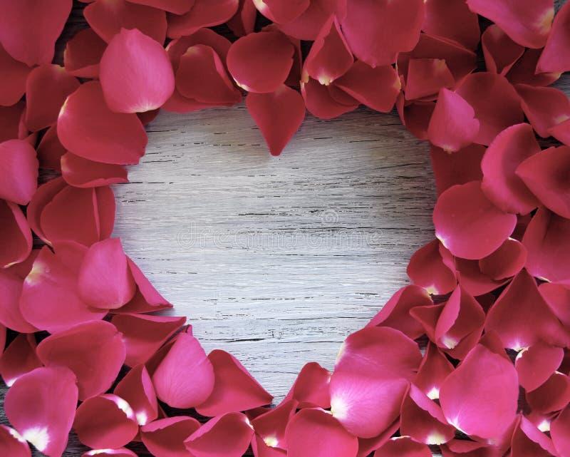 Cuore di legno circondato dai petali di rosa fotografia stock libera da diritti