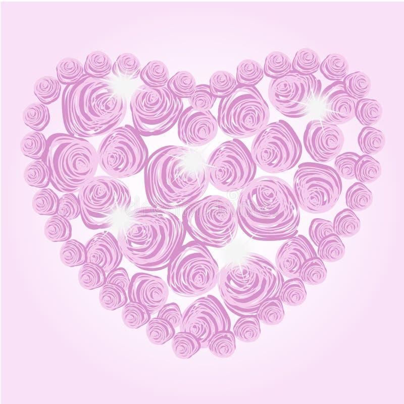 Cuore di lustro delle rose illustrazione di stock