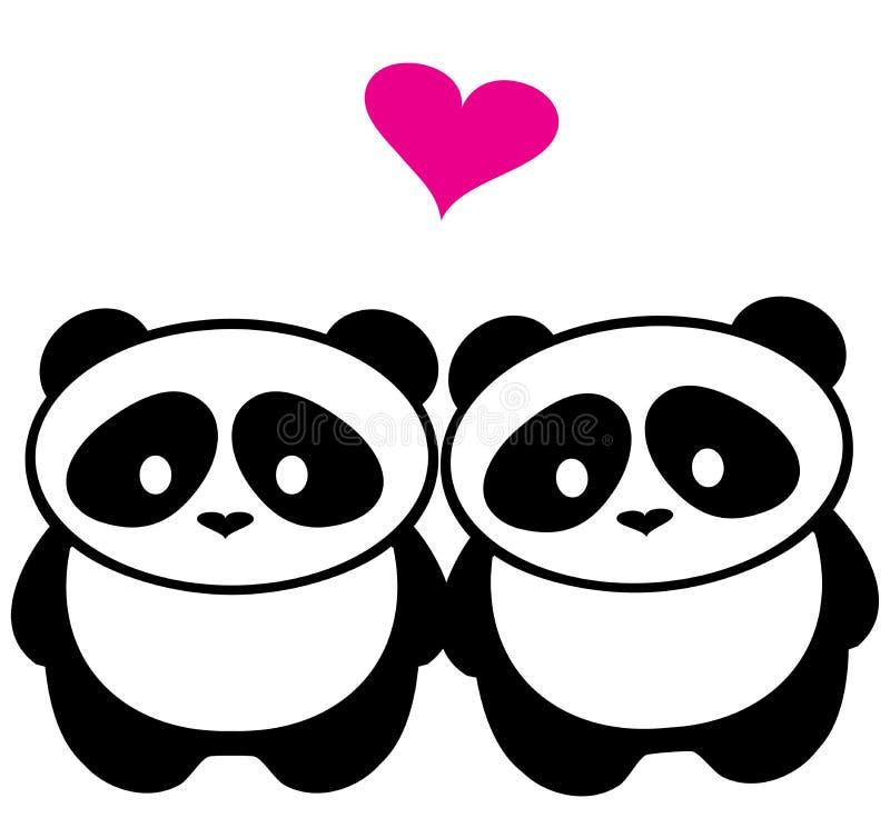 Cuore di Panda Bear Silhouettes With Pink illustrazione di stock