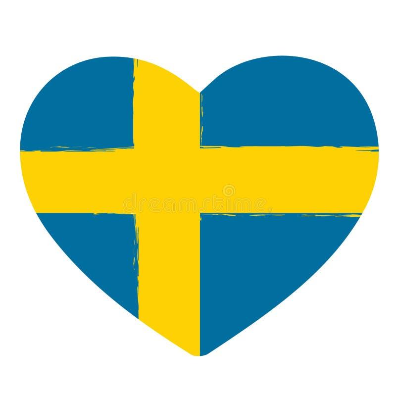 Cuore di pennellata della bandiera della Svezia royalty illustrazione gratis