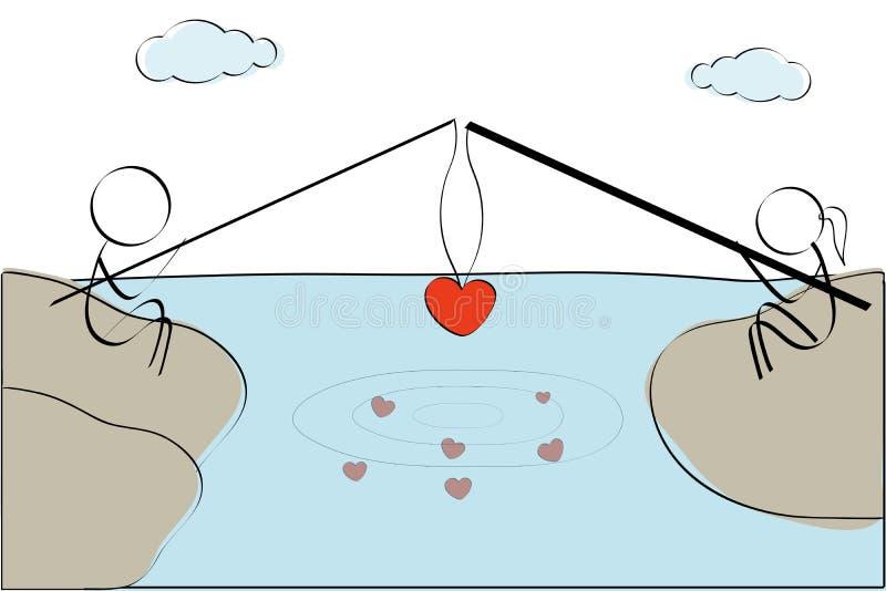 Cuore di pesca delle coppie illustrazione vettoriale