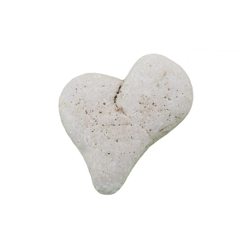 Cuore di pietra naturale isolato su fondo bianco fotografia stock libera da diritti