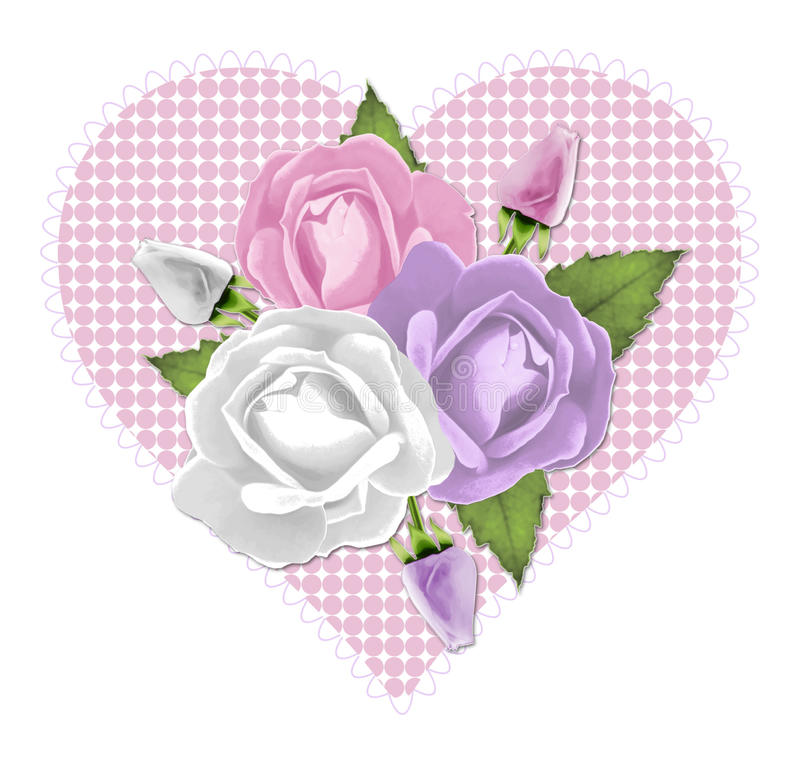 Cuore di rosa di colore rosa illustrazione di stock
