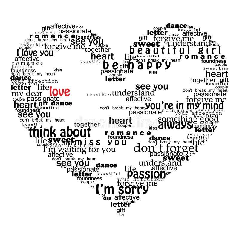 Cuore di Velentine fatto delle parole di amore illustrazione di stock