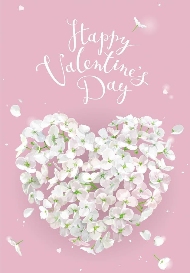 Cuore di vettore del fiore bianco per il San Valentino su fondo rosa illustrazione vettoriale