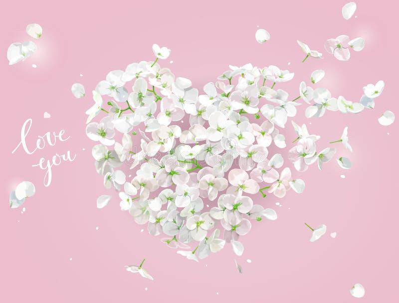 Cuore di vettore del fiore bianco sul vento su fondo rosa illustrazione di stock