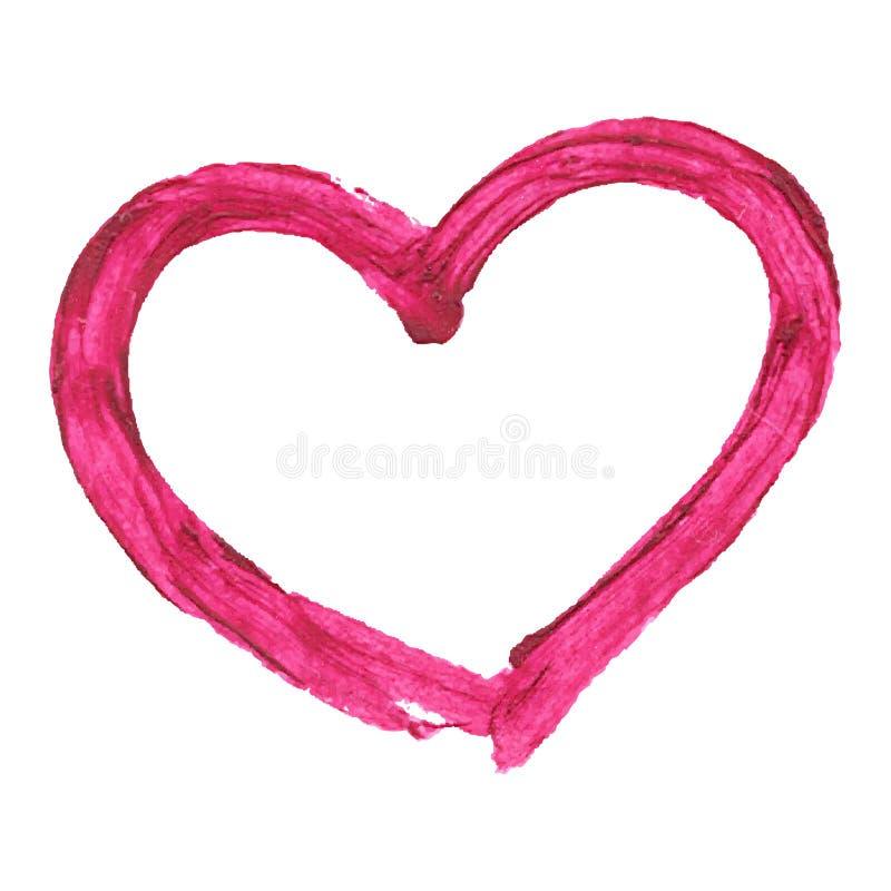 Cuore di vettore del rossetto del disegno di spazzola, su bianco illustrazione di stock
