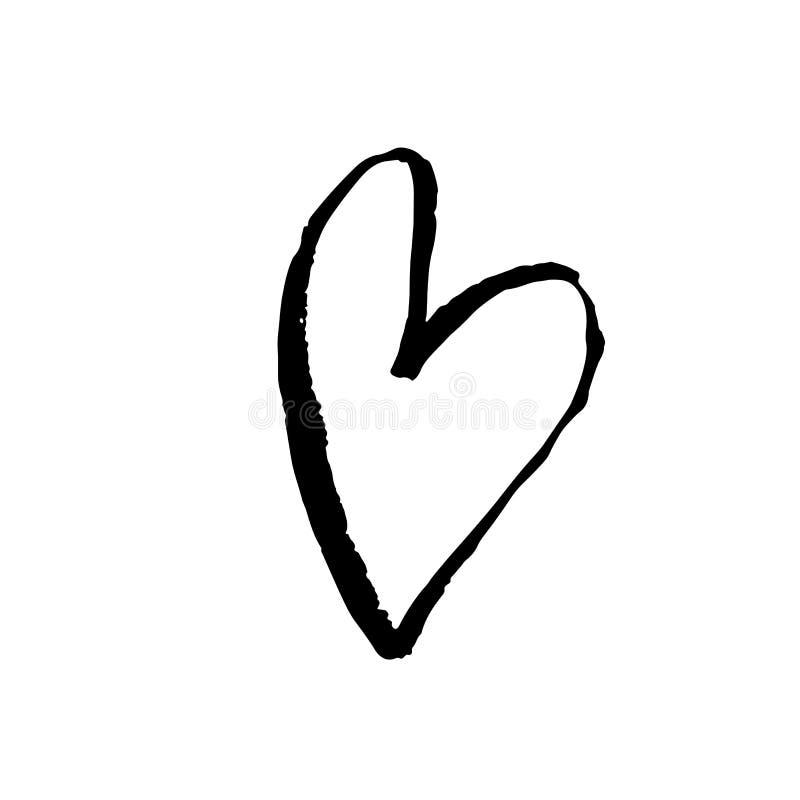 Cuore disegnato a mano dell'inchiostro di lerciume Stampa asciutta della spazzola di giorno di S. Valentino Illustrazione del gru illustrazione vettoriale