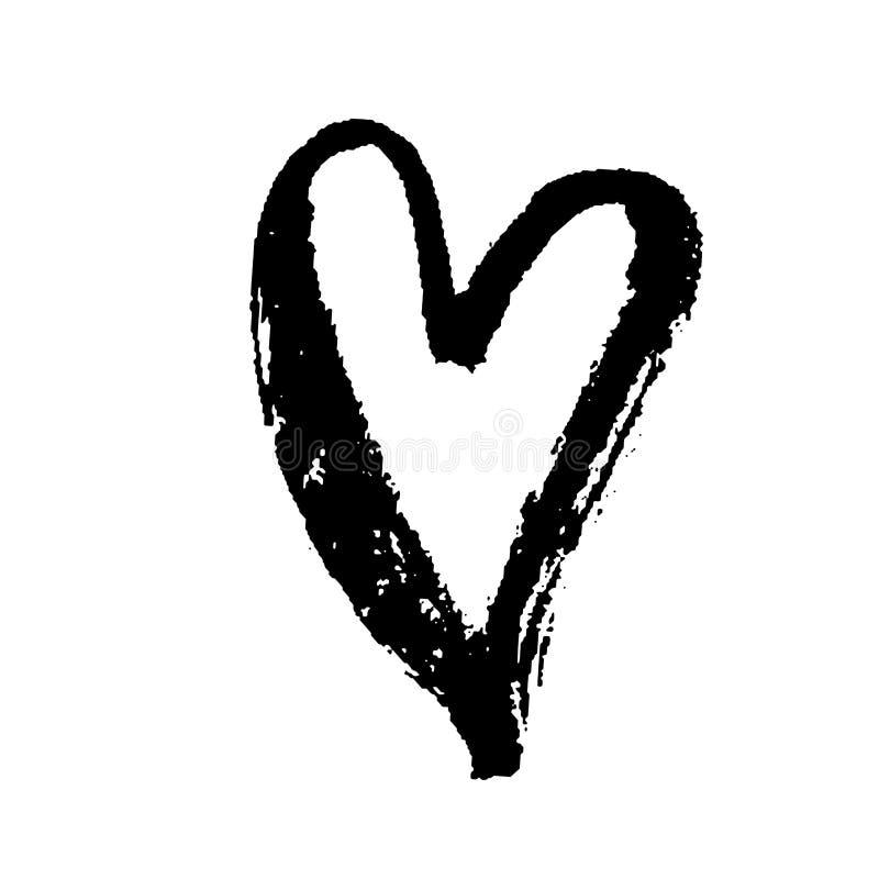 Cuore disegnato a mano dell'inchiostro di lerciume Stampa asciutta della spazzola di giorno di S. Valentino Illustrazione del gru royalty illustrazione gratis