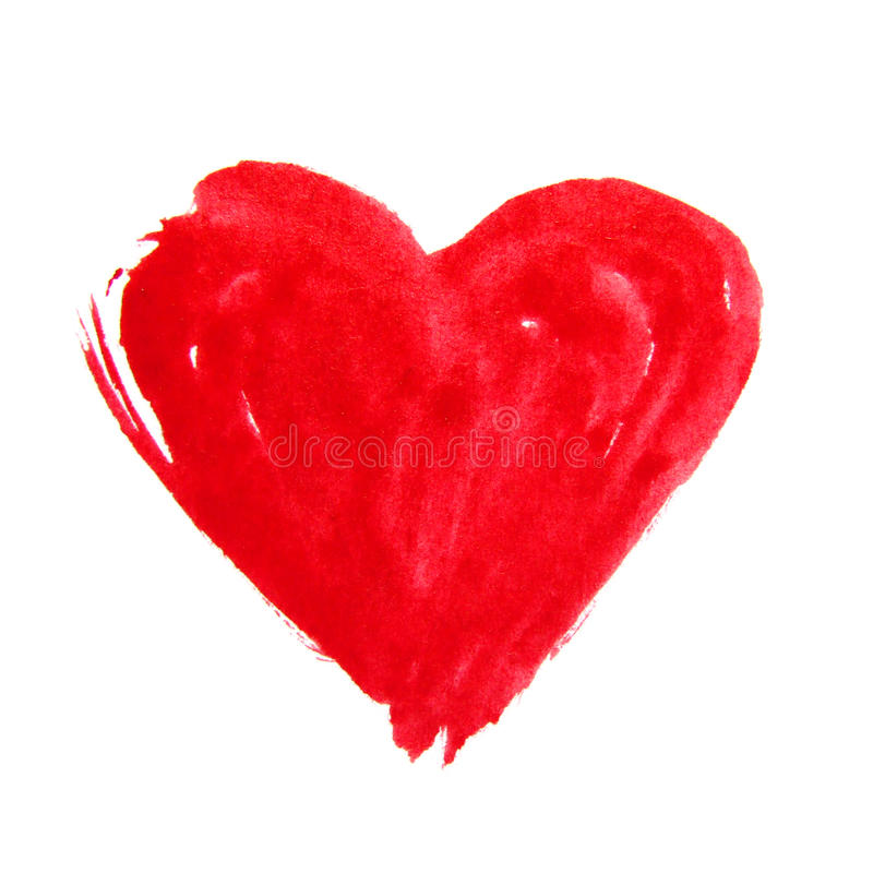 Cuore disegnato a mano rosso dell'acquerello fotografie stock libere da diritti