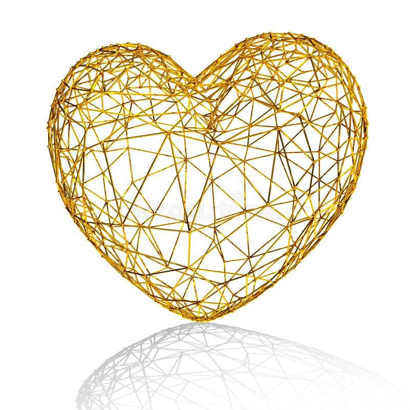 Cuore dorato come gabbia. illustrazione vettoriale