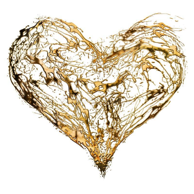 Cuore dorato del biglietto di S. Valentino astratto illustrazione vettoriale