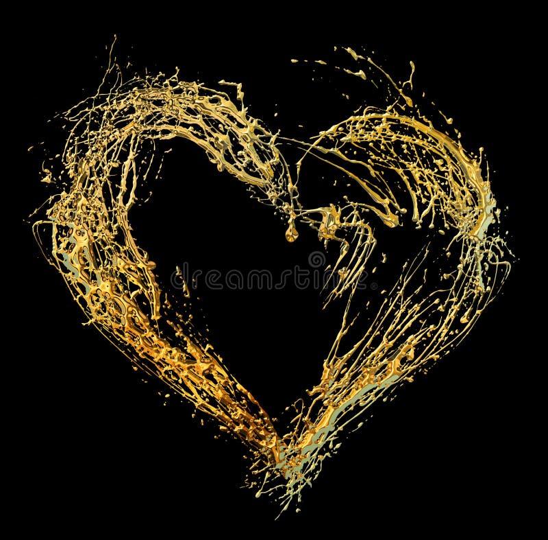Cuore dorato del biglietto di S. Valentino astratto royalty illustrazione gratis