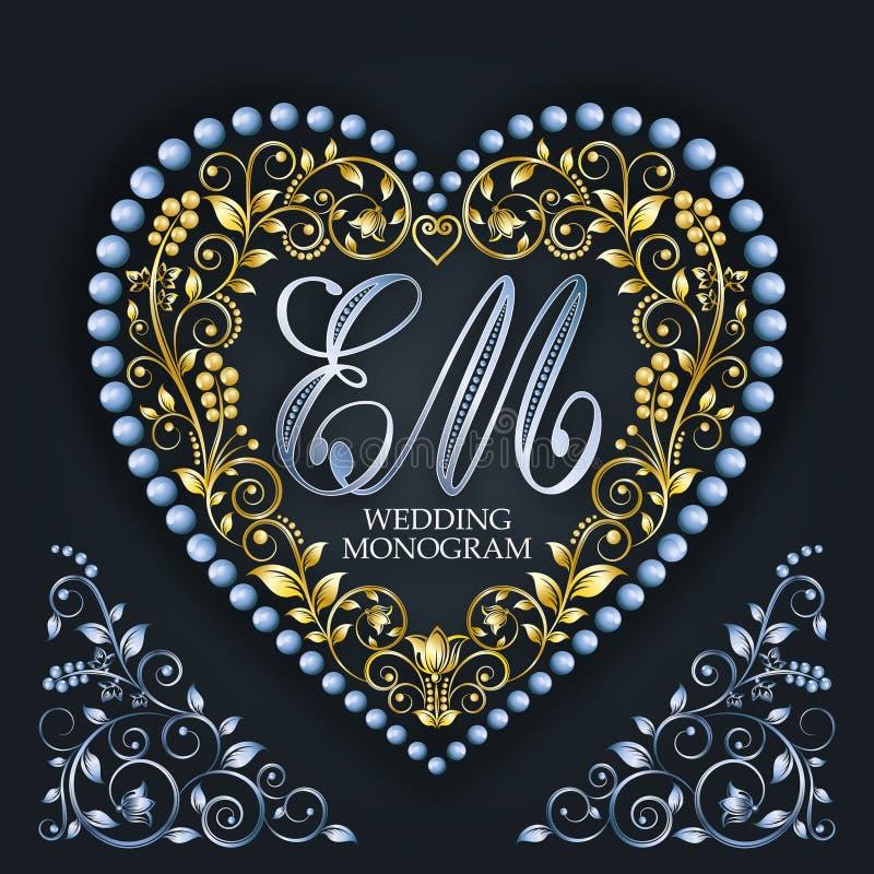 Cuore dorato Monogramma di nozze Lettera E, m. Reticolo floreale elegante illustrazione di stock
