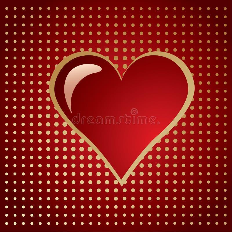 Cuore dorato rosso su un semitono di gradiente royalty illustrazione gratis
