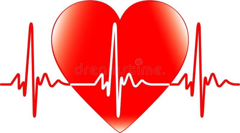 Cuore e battito cardiaco illustrazione di stock
