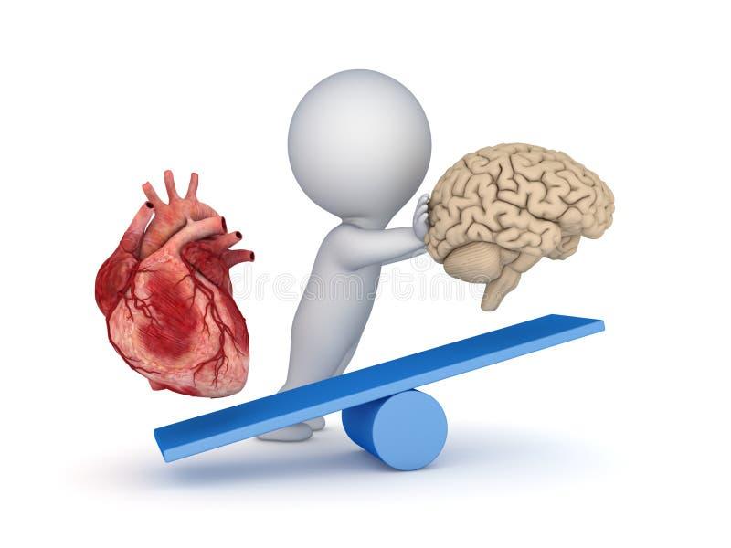 Cuore e cervello umani illustrazione vettoriale