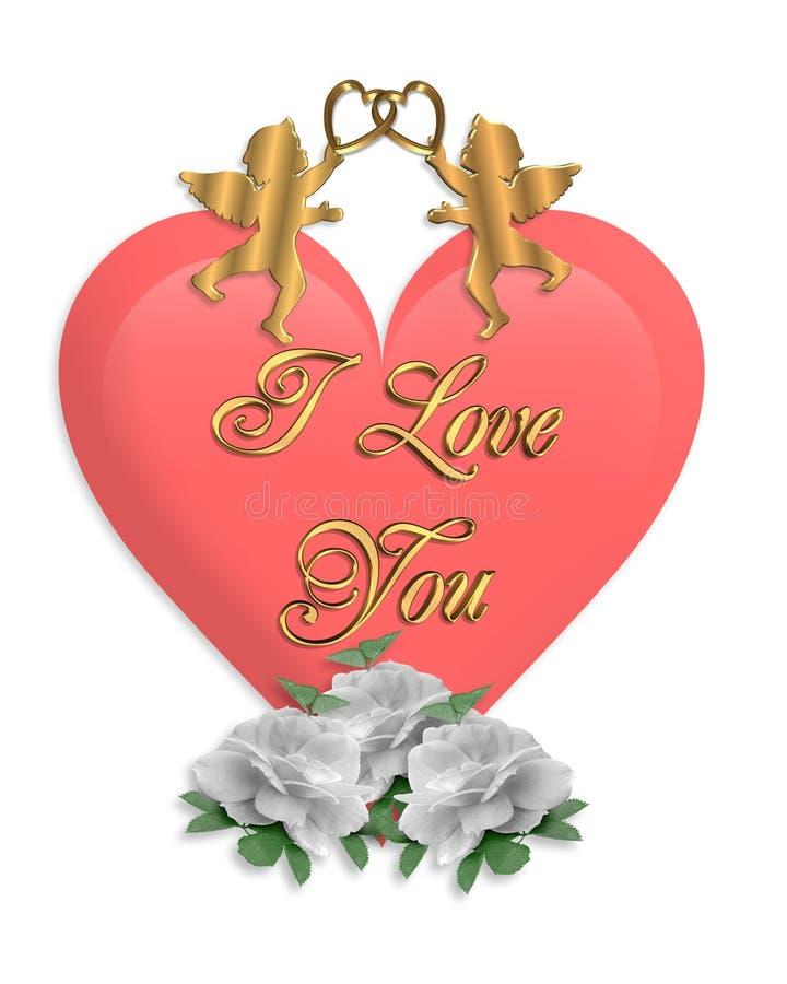 Cuore e Cupids di giorno dei biglietti di S. Valentino royalty illustrazione gratis