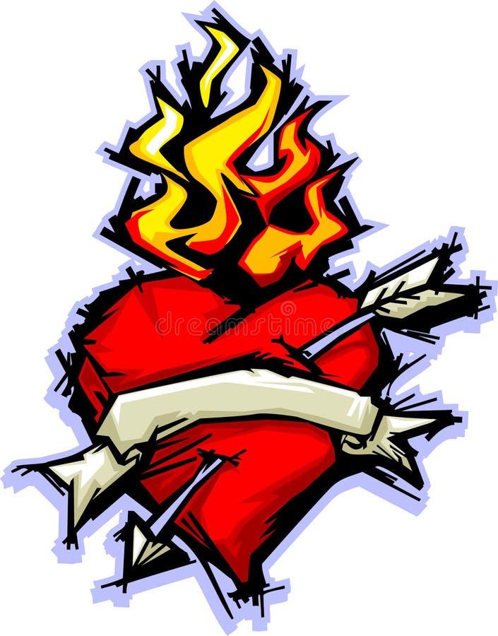 Cuore e fiamme illustrazione vettoriale