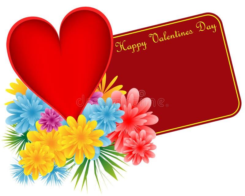 Cuore e fiori rossi del biglietto di S. Valentino illustrazione di stock