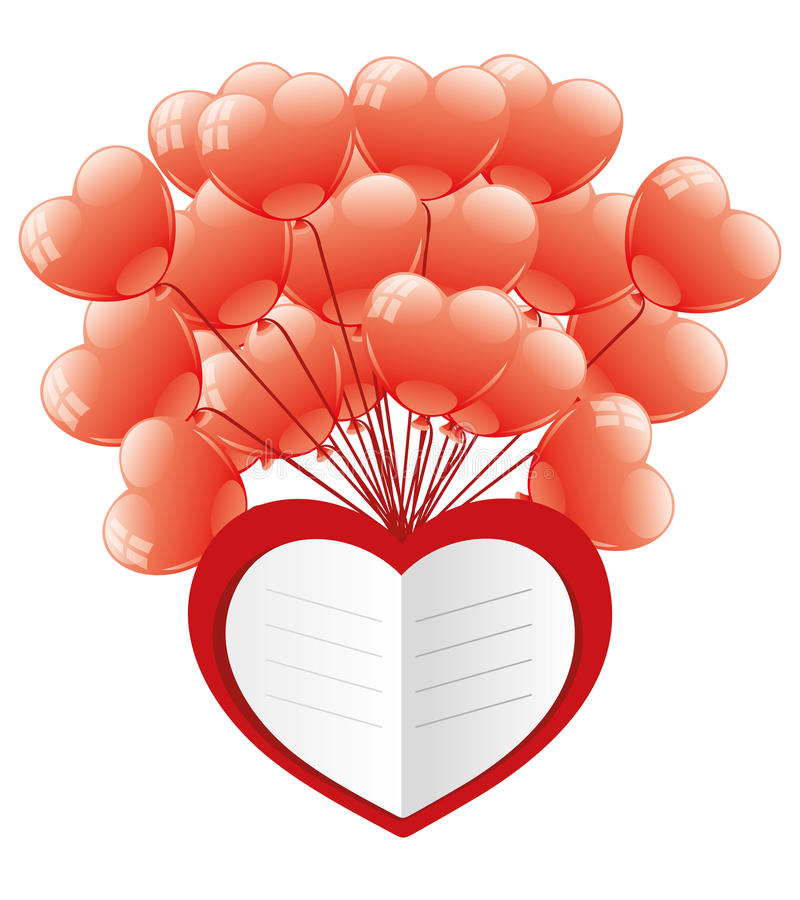Cuore e palloni di amore illustrazione di stock