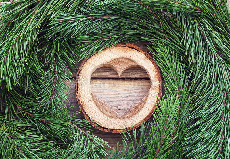 Cuore e rami di pino di legno scolpiti sul bordo di legno anziano immagine stock