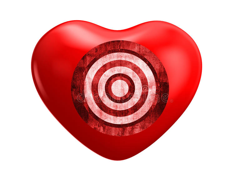 Cuore ed obiettivo rossi illustrazione vettoriale