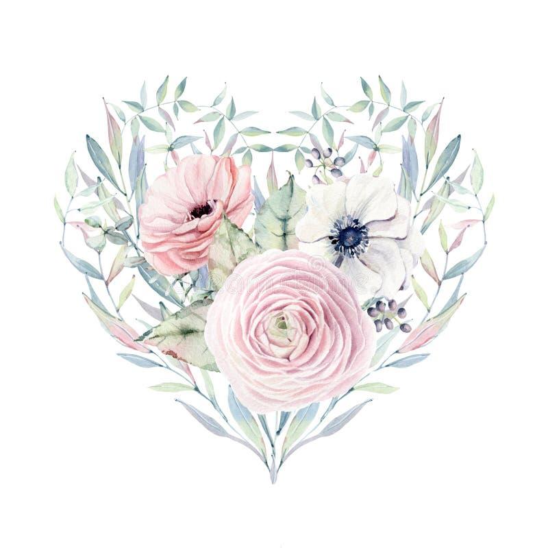 Cuore elegante di giorno di biglietti di S. Valentino dei fiori dell'acquerello illustrazione vettoriale