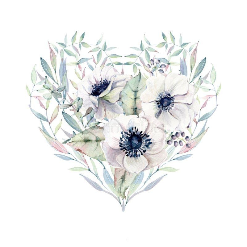 Cuore elegante di giorno di biglietti di S. Valentino dei fiori dell'acquerello royalty illustrazione gratis
