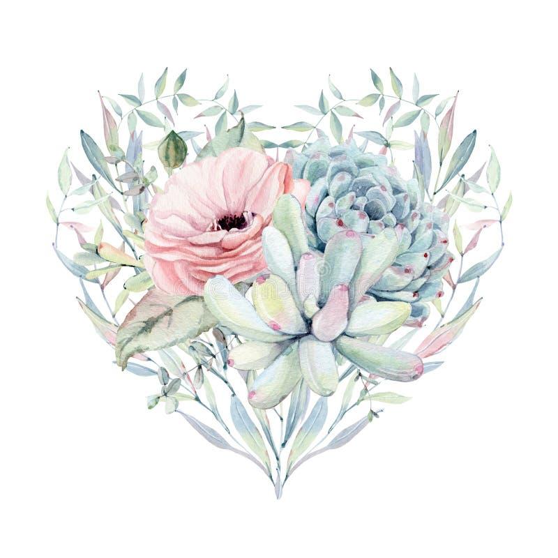 Cuore elegante di giorno di biglietti di S. Valentino dei fiori dell'acquerello illustrazione di stock