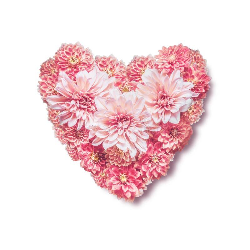 Cuore fatto con i fiori rosa, isolati su fondo bianco, vista superiore Amore, nozze o concetto di giorno di biglietti di S. Valen fotografia stock libera da diritti