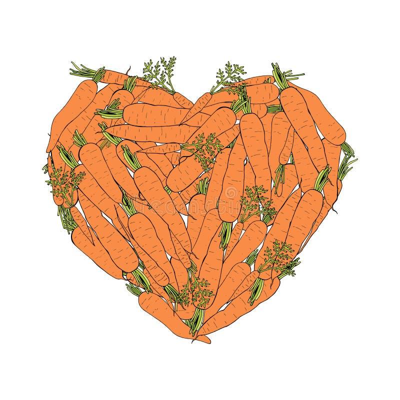 Cuore fatto delle carote colorate illustrazione di stock
