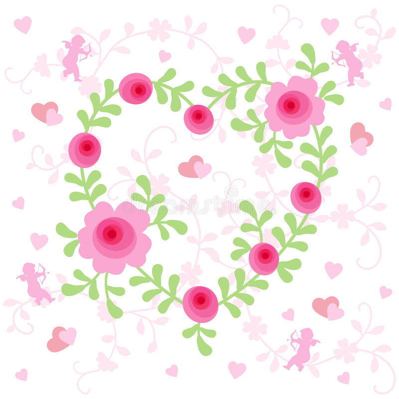 Cuore floreale illustrazione di stock